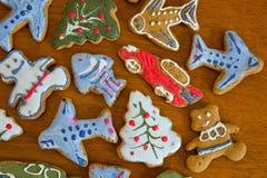 Печенья имбиря рождества на doily Стоковое Изображение