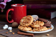 Печенья и какао с зефирами Стоковые Изображения