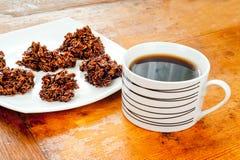 Печенья и кофе шоколада овсяной каши Стоковые Фото