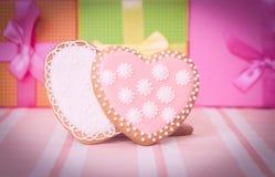 2 печенья и настоящего момента сердца Стоковое Фото