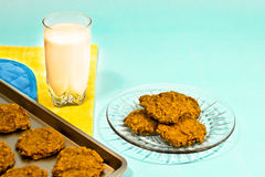Печенья и обслуживание молока Стоковая Фотография RF
