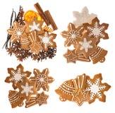 Печенья и специи Gingerbread пищевые ингредиенты рождества Стоковое фото RF