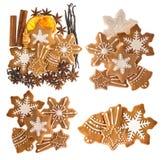 Печенья и специи Gingerbread Сладостная еда рождества Стоковое Изображение