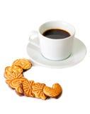 Печенья и чашка кофе изолированные на белизне Стоковое Изображение