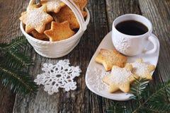 Печенья и чашка кофе рождества Стоковая Фотография