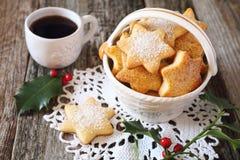 Печенья и чашка кофе рождества Стоковое Изображение