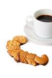 Печенья и чашка кофе Селективный фокус дальше Стоковые Изображения RF