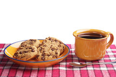 Печенья и чашка кофе шоколада Стоковое Изображение RF