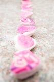 Печенья компановки очень вкусные розовые покрытые с линией Стоковое Изображение