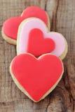 Печенья красного сердца форменные Стоковое Изображение RF