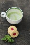 Печенья клубники с зеленым чаем очень вкусный Стоковая Фотография