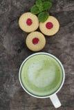 Печенья клубники с зеленым чаем очень вкусный Стоковые Изображения