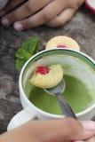 Печенья клубники с зеленым чаем очень вкусный Стоковая Фотография RF