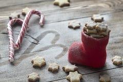 Печенья масла в чулке рождества Стоковые Изображения