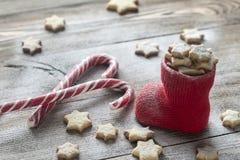 Печенья масла в чулке рождества Стоковая Фотография RF