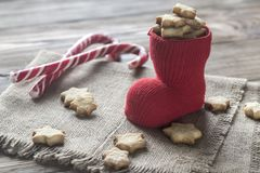 Печенья масла в чулке рождества Стоковые Фото