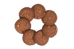 Печенья масла гайки анакардии шоколада штабелируют изолированную форму цветка, Стоковое фото RF