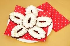Печенья меренги с шоколадом Стоковая Фотография