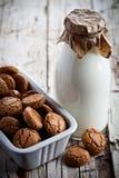 Печенья миндалины меренги в шаре и бутылке молока Стоковая Фотография RF