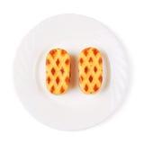Печенья миндалины на блюде Стоковая Фотография RF