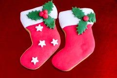 2 печенья носка рождества Стоковая Фотография RF