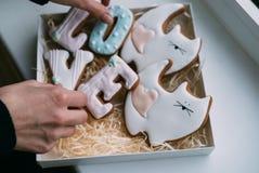 Печенья дня ` s валентинки в коробке Стоковые Фото