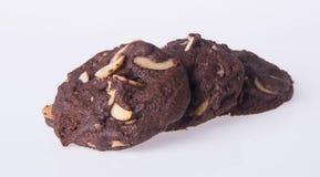 Печенья обломоков шоколада миндалин на предпосылке Стоковое фото RF