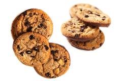 Печенья обломока шоколада изолированные на белом конце предпосылки вверх Стоковые Фото