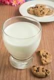 Печенья обломока шоколада и стекло молока стоковое изображение