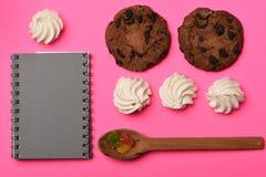 Печенья обломока шоколада с книгой рецепта Стоковые Изображения RF