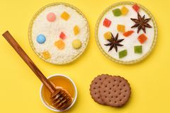 Печенья обломока шоколада с медом Стоковая Фотография