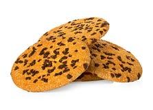 Печенья обломоков шоколада изолированные на белизне Стоковые Фото
