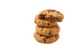 Печенья обломоков шоколада изолированные на белизне Стоковое Изображение