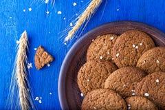 Печенья овсяной каши в коричневой плите на голубой предпосылке Деревенский тип Взгляд сверху Стоковые Фотографии RF