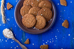 Печенья овсяной каши в коричневой плите на голубой предпосылке Деревенский тип Взгляд сверху Стоковое Изображение RF