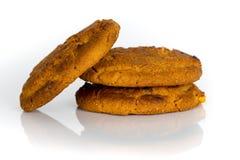 3 печенья овсяной каши изолированного на белизне Стоковая Фотография RF