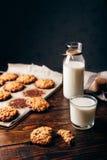 Печенья овсяной каши и стекло молока Стоковая Фотография