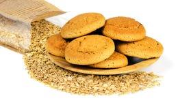 Печенья овсяной каши и хлопья овса Стоковое Фото