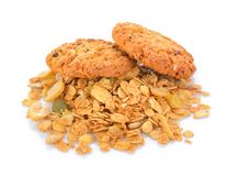 Печенья овсяной каши на белой предпосылке Стоковые Фотографии RF