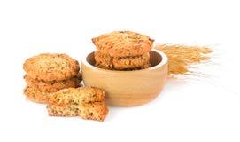 Печенья овсяной каши на белой предпосылке Стоковая Фотография