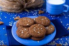 Печенья овсяной каши на голубой плите в чашке молока деревенский Стоковая Фотография RF