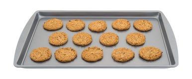 Печенья овсяной каши на листе выпечки Стоковые Фото