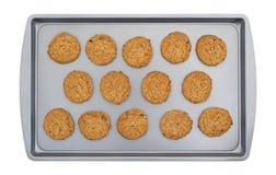 Печенья овсяной каши на листе выпечки Стоковое Изображение RF