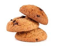 Печенья овсяной каши при шоколад изолированный на белой предпосылке Стоковое Фото