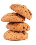 Печенья овсяной каши при шоколад изолированный на белой предпосылке Стоковые Фото