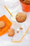 Печенья овсяной каши с стеклом молока Стоковое Изображение RF
