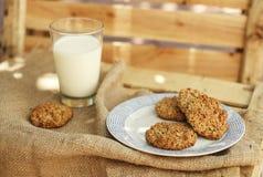 Печенья овсяной каши с стеклом молока Стоковая Фотография