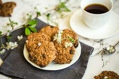 Печенья овсяной каши с чашкой кофе стоковое фото rf