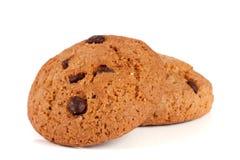 Печенья овсяной каши с шоколадом на белой предпосылке Стоковая Фотография RF
