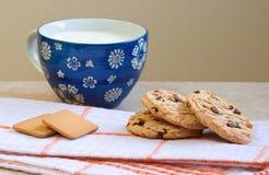 Печенья овсяной каши, чашка молока, простого завтрака Стоковые Изображения